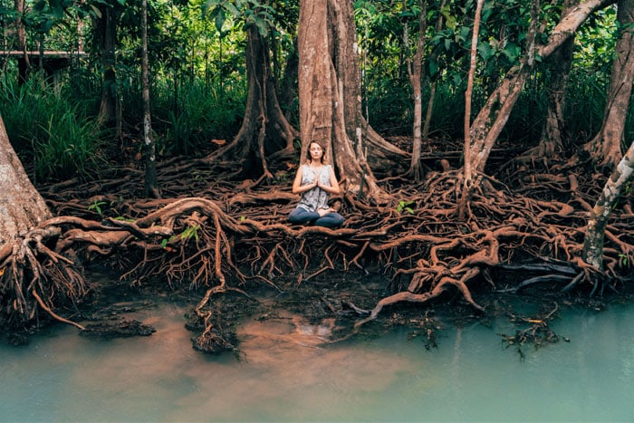 Young Caucasian woman doing yoga near the river in tropical forest in Krabi, Thailand